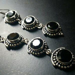 Black Onyx earrings sterling silver new Gemstone